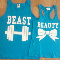 Free Shipping for US Beauty And The Beast Matching Couples Tank Tops/Shirts:Turquoise(white decal) Different Version