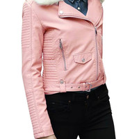 Pink Leather Biker Jacket with Artificial Fur