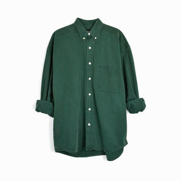 Vintage Hunter Green Button Down Shirt / 90s Men's Shirt - men's medium