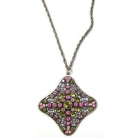 """Anne Koplik Designs Sterling Silver Plated Necklace with Pink and Khaki Swarovski Crystals, 24"""""""