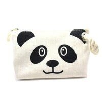 Small Panda Bear Face Shaped Clutch Make Up Bag with Wrist Strap