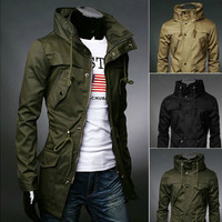Military Style Men's Slim Fit Funnel Neck Jacket