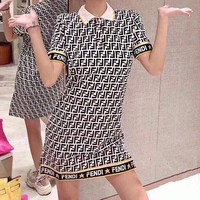 FENDI Summer Fashion Women Casual F Letter Jacquard Short Sleeve Knit Dress