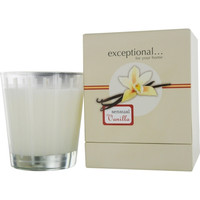 VANILLA SENSUAL - LIMITED EDITION by Exceptional Parfums SENSUAL VANILLA SCENTED 8.8 OZ TAPERED GLASS JAR CANDLE.