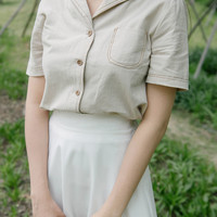 Contrast Stitch Button-Down Shirt | mixxmix