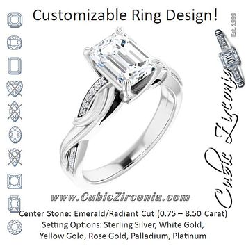 Cubic Zirconia Engagement Ring- The Fabiola (Customizable Cathedral-raised Radiant Cut Design featuring Rope-Braided Half-Pavé Band)