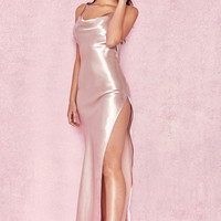 Clothing : Max Dresses : 'Tomasa' Champagne Satin Draped Maxi Dress