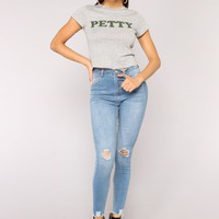 She Petty Baby Tee - Heather Grey