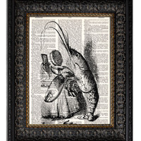 ALICE IN WONDERLAND LOBSTER QUADRILLE Dictionary Art Print