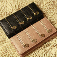 Four-zipper Style Womens Bifold Clutch Leather Purse Long Wallet Bag New