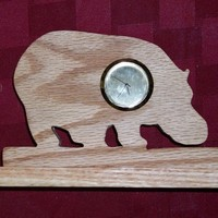 Wooden Hippo mini desk clock