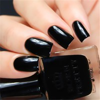 BORN PRETTY 1 Bottle 10ml Nail Polish Black Long-lasting Manicure Nail Art Varnish Polish BPR007