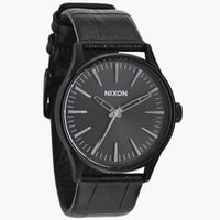 Nixon The Sentry 38 Leather Watch Black Gator One Size For Men 24407010001