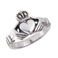 Women's .925 Sterling Silver Traditional Claddagh Celtic Ring, Size 7