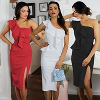 2020 new women's sexy women's asymmetrical one-shoulder slit bag hip dress