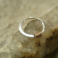 Nose Rings Sterling Silver with 14k Pink Gold Filled Wrap