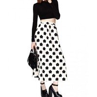 A-Line Long Skirt In Mono Floral Print