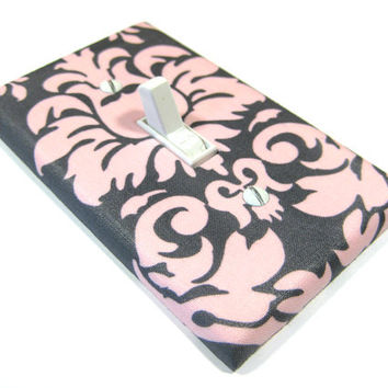 Pink and Gray Damask Light Switch Cover Cottage by ModernSwitch
