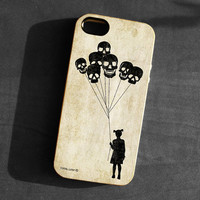 IPhone 5 Case girl skull balloons Soft TPU Gel Silicone Cover iPhone gothic silhouette art black scary funny