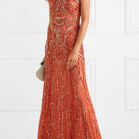 Jenny Packham - Embellished Leavers lace gown