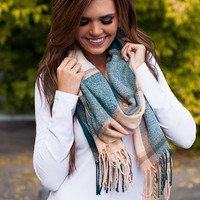 True to Your Heart Plaid Scarf Blue/Beige