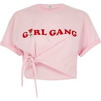 Pink 'girl gang' front knot cropped T-shirt