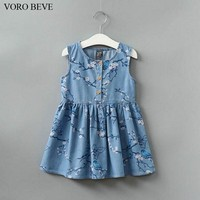 VORO BEVE Cowboy Dress Knee-Length Clothes Casual Sleeveless Vestidos Girl Clothing Spring and Summer Childrens Dress
