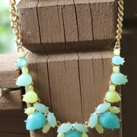 Mint Teardrop Gem Necklace