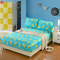 Home textile 3pcs/set bed sheet set violet fitted sheet set queen mattress cover solid bed clothes Banana bed cover with rubber