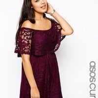 ASOS CURVE Exclusive Off Shoulder Playsuit In Lace at asos.com
