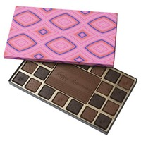 Pretty Geometric in Mostly Pink Assorted Chocolates