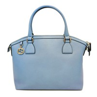 Gucci Women's GG Charm Blue Leather Medium Convertible Dome Bag 449651