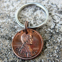 Hand Stamped Name Penny with Birth Year  by DesignByAnyOtherName