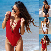 SOLID COLOR BACKLESS ONE PIECE SWIMSUIT