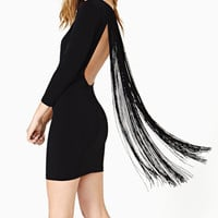 Black Long Sleeve Fringed Back Mini Dress