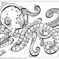 Octopus 1 Drawing for Download Coloring Page by Megan Duncanson