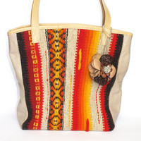 #Handmade #ladies leather #handbag with handwoven part