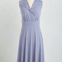 Americana Long Sleeveless A-line Dock Party Dress in Blue by Karina from ModCloth