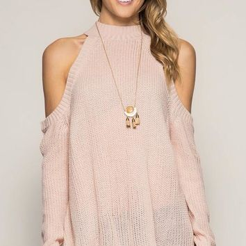 long sleeve cold shoulder sweater (more colors)