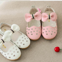 Baby Shoes Girls Leather Cute Princess Sweet Cut Out Spring and Autumn New Children Shoes Bowknot Temperament High Quality Kid Toddler Shoes