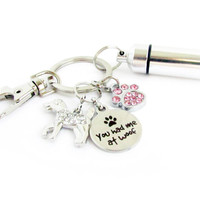 Pet Loss Keychain with Ashes Urn and Dog Quote