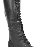 Tall Combat Boot with Studs at Toe and Trim with Lace Up Front