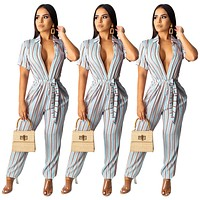 fhotwinter19 Hot Sale Women's Casual Striped Print Short Sleeve Jumpsuit