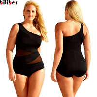 4XL Sexy Plus Size Swimwear Black Mesh monokini bikini One Piece Swimsuit Maternity See Through large size Swimwear For Women