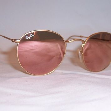 New RAY BAN ROUND METAL Sunglasses 3447 112/Z2 GOLD/PINK MIRROR 50mm AUTHENTIC