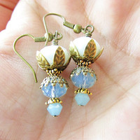 White & Opalescent Blue Crystals and Brass Flower Petal Dangle Earrings