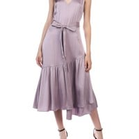 Midi Length Dress with belt in Dusty Lavender