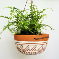 TERRACOTTA AND WHITE HANGING PLANTER