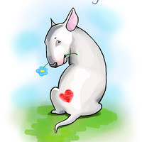 """Funny card with Bullterrier. Printable greeting card, Instant Download 5 x 7"""" JPG file, I'm sorry. Sketch drawing."""