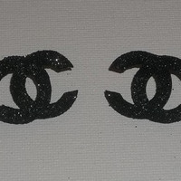 LIMITED - Beautiful Black Glitter CC Inspired Earring Post Studs